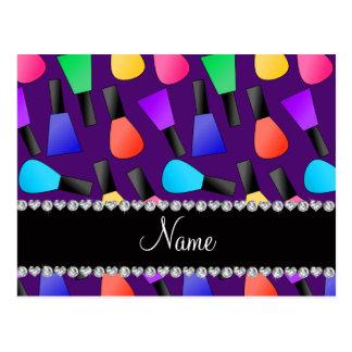 Esmalte de uñas púrpura conocido personalizado del postal