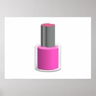 Esmalte de uñas rosado impresiones