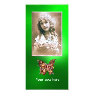 ESMERALDA de la MARIPOSA, verde rojo Tarjeta Con Foto Personalizada