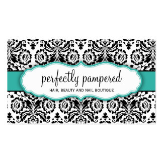 Esmeralda elegante del jade del negro del damasco tarjetas de visita