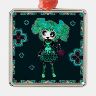 Esmeralda gótica y negro del niño de Lolita Adorno Cuadrado Plateado