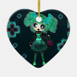 Esmeralda gótica y negro del niño de Lolita Adorno De Cerámica En Forma De Corazón