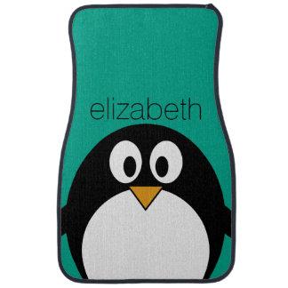esmeralda linda y negro del pingüino del dibujo alfombrilla de auto