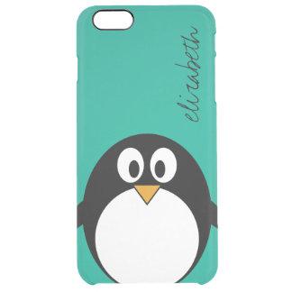 esmeralda linda y negro del pingüino del dibujo funda clear para iPhone 6 plus