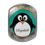 esmeralda linda y negro del pingüino del dibujo jarrones de cristal