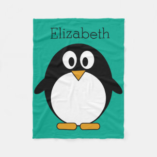 esmeralda linda y negro del pingüino del dibujo manta de forro polar