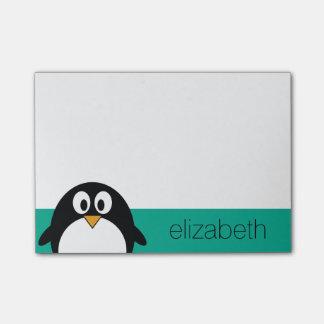 esmeralda linda y negro del pingüino del dibujo nota post-it