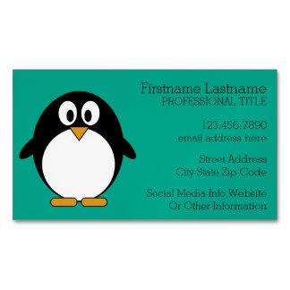 esmeralda linda y negro del pingüino del dibujo tarjetas de visita magnéticas (paquete de 25)