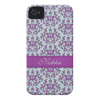 Esmeralda púrpura iphone4 del damasco botánico iPhone 4 carcasas