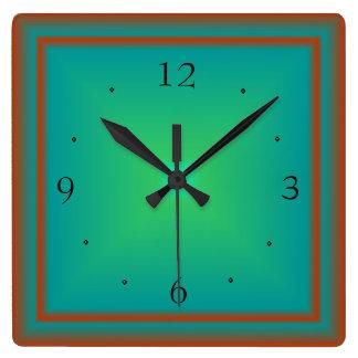Esmeralda simplista/verde/reloj de pared de Red> Reloj Cuadrado