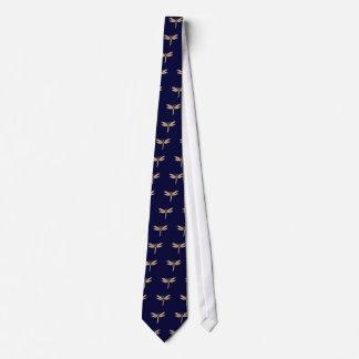 Esmeraldas del diamante y libélula del oro corbata personalizada
