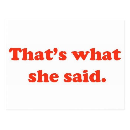 Eso es lo que ella dijo 3 postal