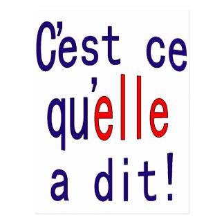 ¡Eso es lo que ella dijo! (Francés) Postales