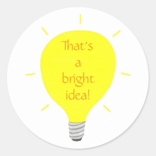Eso es una idea brillante, pegatinas del bulbo de pegatina redonda