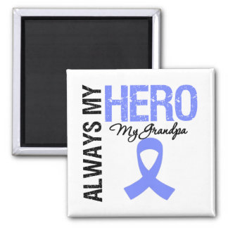 Esophageal Cancer Always My Hero My Grandpa 2 Inch Square Magnet