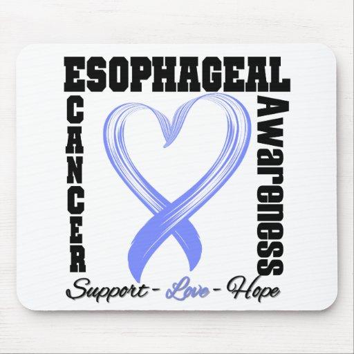 Esophageal Cancer Awareness Brushed Heart Ribbon Mousepads