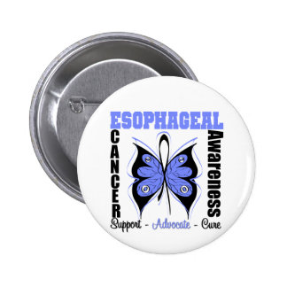 Esophageal Cancer Awareness Butterfly Pinback Button