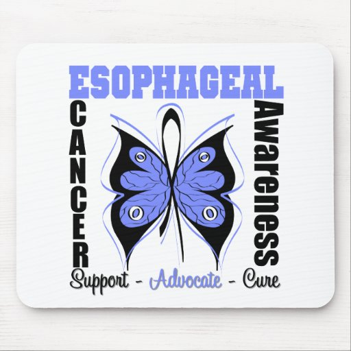 Esophageal Cancer Awareness Butterfly Mouse Mats