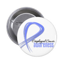 Esophageal Cancer Awareness Grunge Ribbon 2 Inch Round Button
