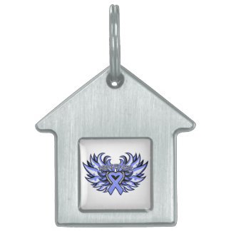 Esophageal Cancer Awareness Heart Wings Pet Tags