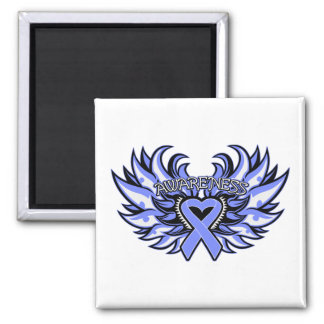 Esophageal Cancer Awareness Heart Wings.png 2 Inch Square Magnet