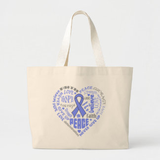 Esophageal Cancer Awareness Heart Words Large Tote Bag