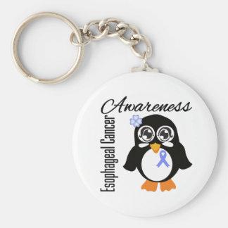 Esophageal Cancer Awareness Penguin Basic Round Button Keychain