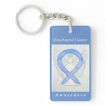 Esophageal Cancer Awareness Ribbon Angel Keychain