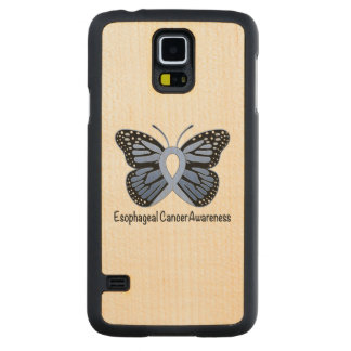 Esophageal Cancer Awareness Ribbon Carved Maple Galaxy S5 Case