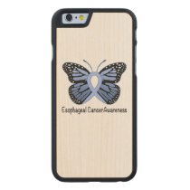Esophageal Cancer Awareness Ribbon Carved Maple iPhone 6 Slim Case