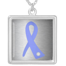 Esophageal Cancer Awareness Ribbon Silver Plated Necklace