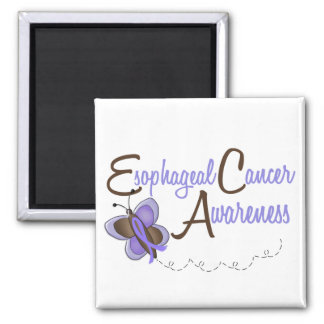 Esophageal Cancer Butterfly 2 Awareness 2 Inch Square Magnet