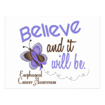 Esophageal Cancer Butterfly 2 Believe & It Will Be Postcard