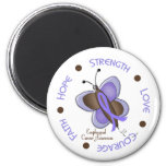 Esophageal Cancer Butterfly 2 Inspirational Circle Refrigerator Magnets