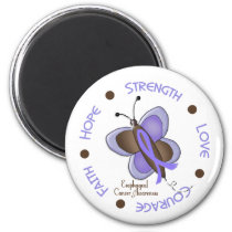 Esophageal Cancer Butterfly 2 Inspirational Circle Magnet