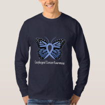 Esophageal Cancer Butterfly Awareness Ribbon T-Shirt