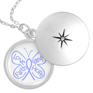 Esophageal Cancer Butterfly Inspiring Words Round Locket Necklace