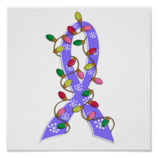 Esophageal Cancer Christmas Lights Ribbon Poster