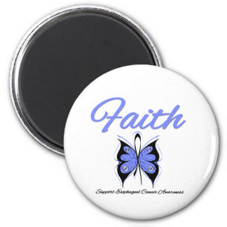 Esophageal Cancer Faith Butterfly Ribbon 2 Inch Round Magnet