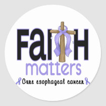 Esophageal Cancer Faith Matters Cross 1 Classic Round Sticker