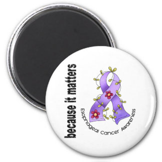 Esophageal Cancer Flower Ribbon 3 2 Inch Round Magnet