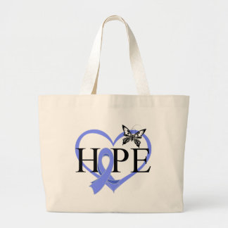 Esophageal Cancer Hope Butterfly Heart Décor Large Tote Bag