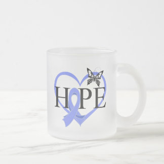 Esophageal Cancer Hope Butterfly Heart Décor 10 Oz Frosted Glass Coffee Mug