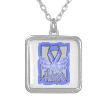 Esophageal Cancer Hope Butterfly Portrait Necklaces