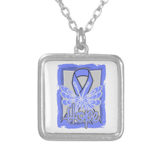 Esophageal Cancer Hope Butterfly Portrait Square Pendant Necklace