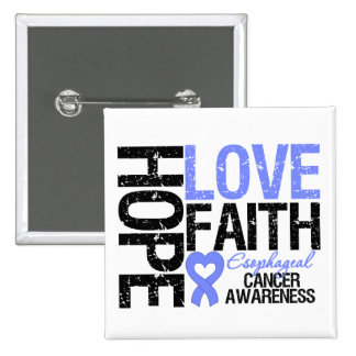 Esophageal Cancer Hope Love Faith 2 Inch Square Button