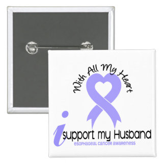 Esophageal Cancer I Support My Husband 2 Inch Square Button