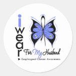 Esophageal Cancer I Wear Butterfly Ribbon HUSBAND Stickers