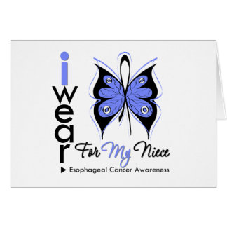 Esophageal Cancer I Wear Butterfly Ribbon NIECE Cards