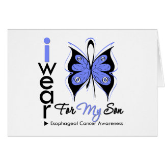 Esophageal Cancer I Wear Butterfly Ribbon SON Greeting Cards